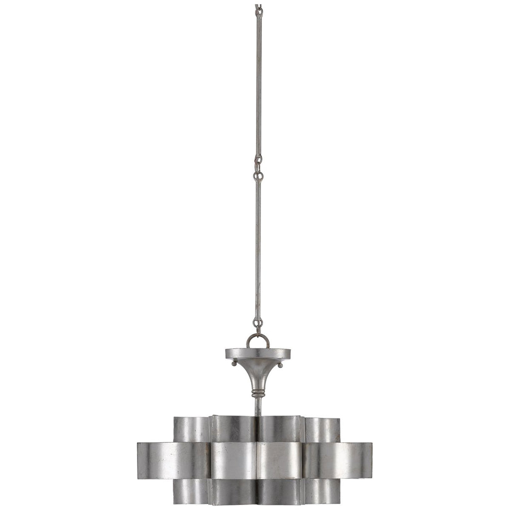 Currey and Company Grand Lotus Silver Small Chandelier