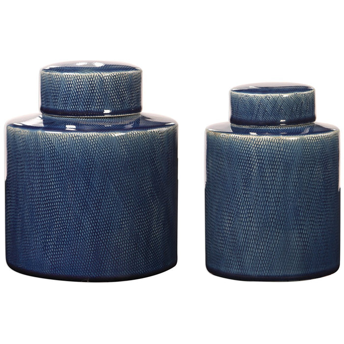 Uttermost Saniya Blue Containers - Set of 2