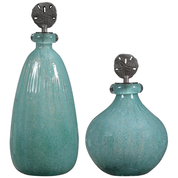 Uttermost Mellita Aqua Glass Bottles, 2-Piece Set