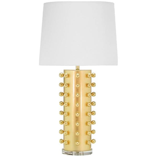 Worlds Away Ball Studded Lamp with White Linen Shade