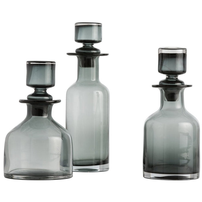 Arteriors O'Connor Decanters Set of 3 in Smoke Glass