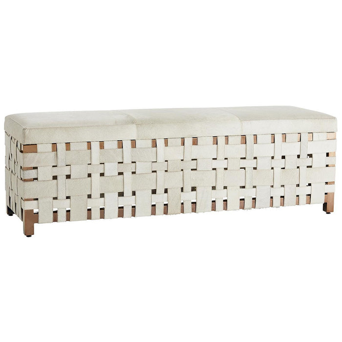 Arteriors Elis Bench - White Hide
