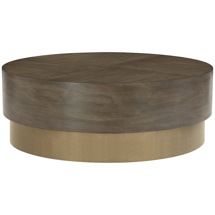 Bernhardt Profile Warm Taupe Round Cocktail Table