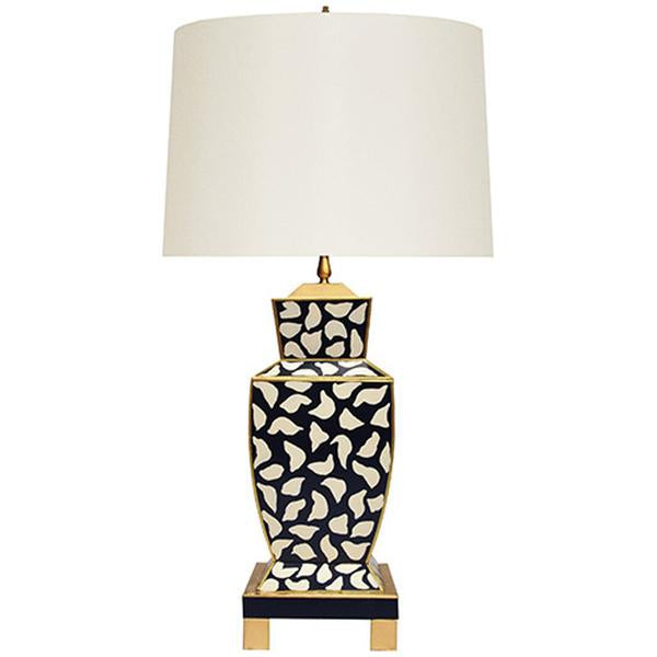 Worlds Away Hand Painted Urn Shape Tole Table Lamp in Black Leopard
