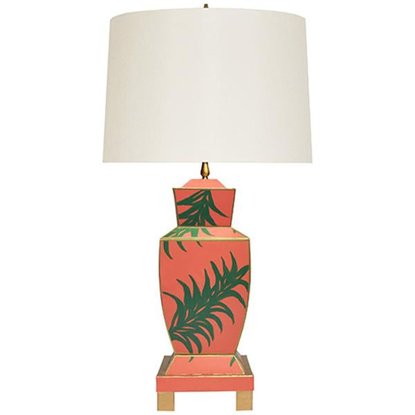 Worlds Away Hand Painted Urn Shape Tole Table Lamp in Palm