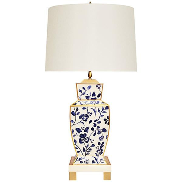 Worlds Away Hand Painted Urn Shape Tole Table Lamp in Navy Vine