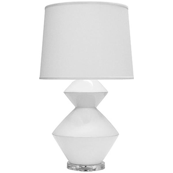 Worlds Away 2-Tier Ceramic Table Lamp with White Linen Shade