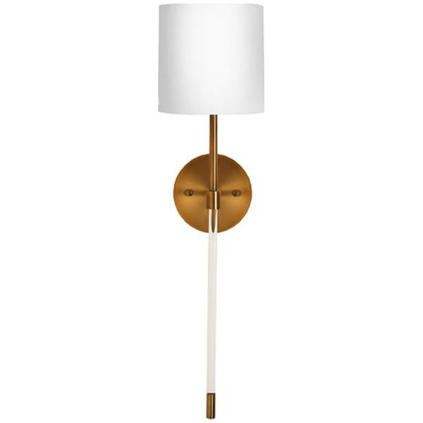 Worlds Away Acrylic Sconce with White Linen Shade
