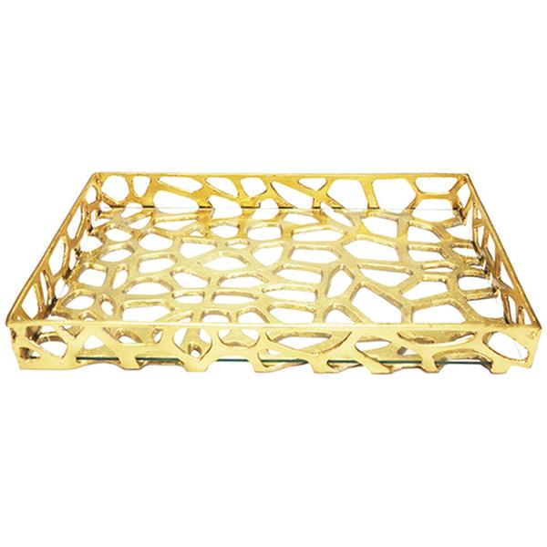 Worlds Away Organic Iron Tray with Glass Bottom