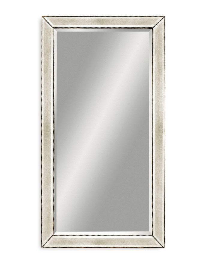 "Antiqued Silver Beaded Floor Mirror - 44"" x 79"""
