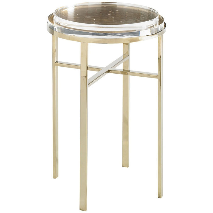 Caracole Sparkler Round Gold Bullion Accent Table