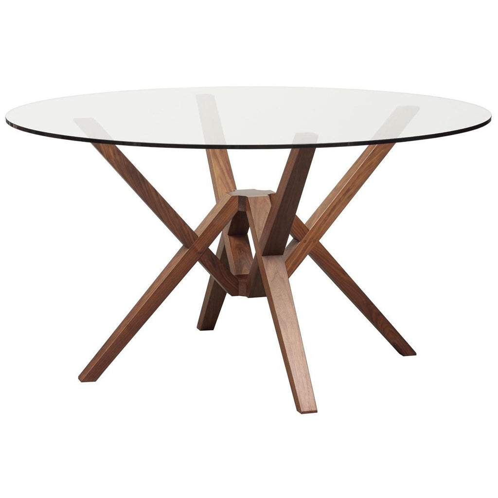 Copeland Furniture Exeter Round Glass Top Dining Table