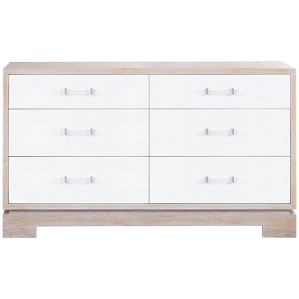 Worlds Away Six Drawers Chest with Acrylic And Nickel Hardware