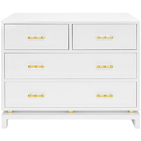 Worlds Away 4-Drawer Chest with Gold Leaf Hardware