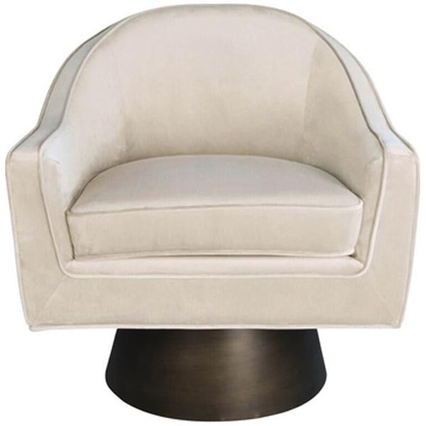 Worlds Away Modern Swivel Chair with Bronze Base