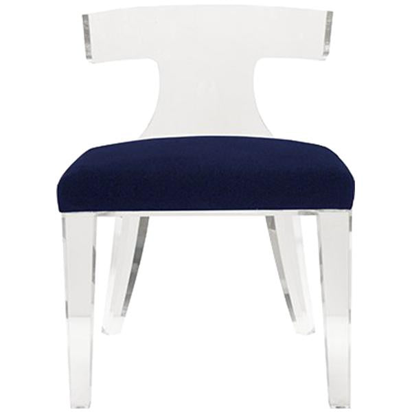 Worlds Away Acrylic Klismos Chair with Faux Shagreen Cushion Seat