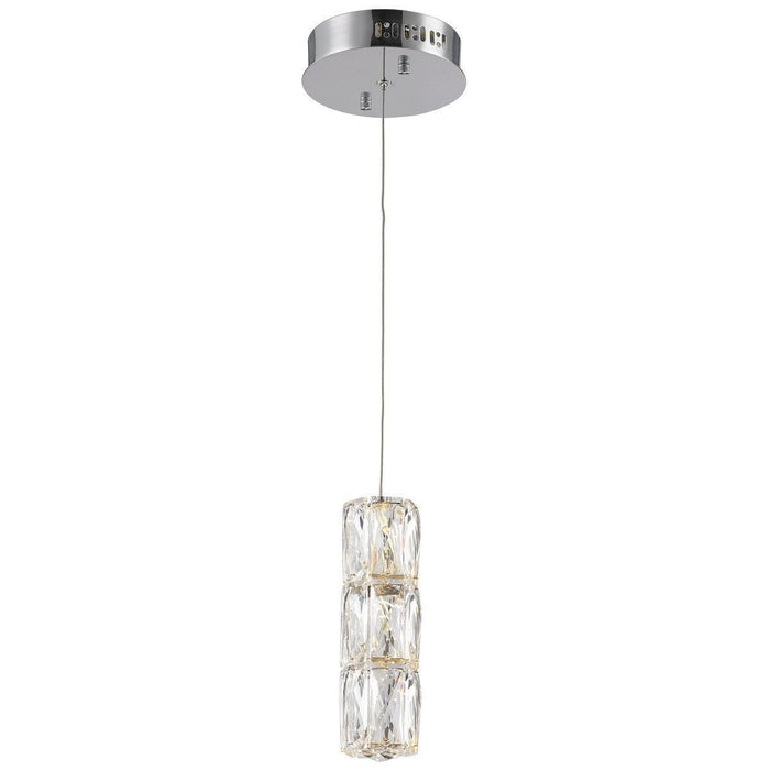 Elegant Lighting Polaris 1 Light Chrome with Clear Crystal Pendant