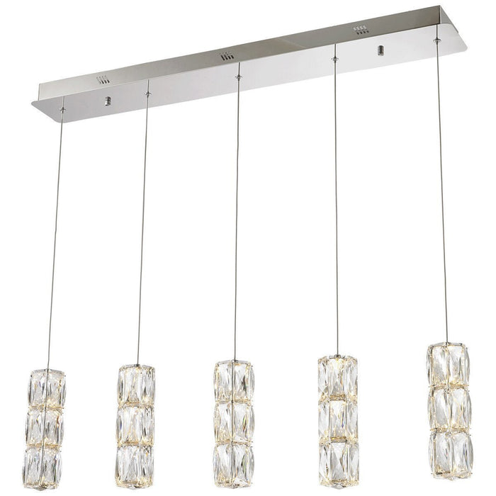 Elegant Lighting Polaris 5 Lights Chrome with Clear Crystal Pendant