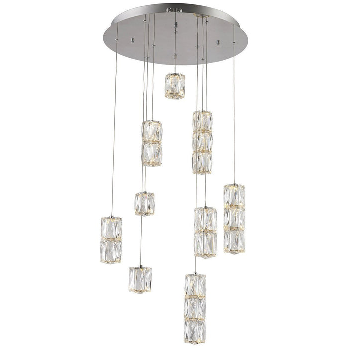Elegant Lighting Polaris 9 Lights Chrome with Clear Crystal Pendant