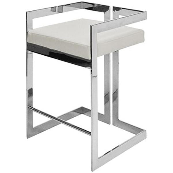 Worlds Away Counter Height Stool with White Vinyl Cushion