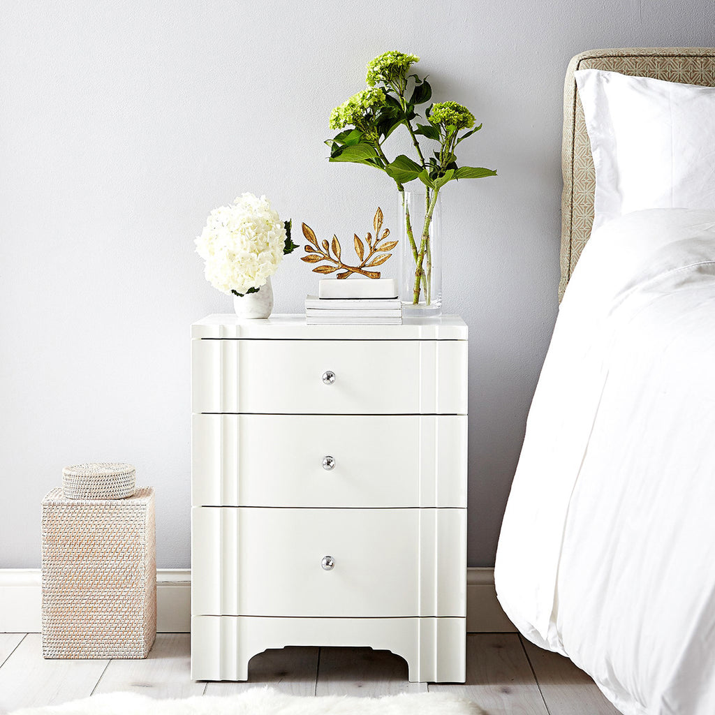 Bungalow 5 Flanders 3-Drawer Side Table in White