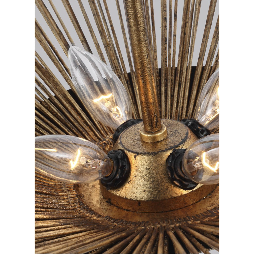 Feiss Helios 4-Light Wide Pendant - Antique Gild