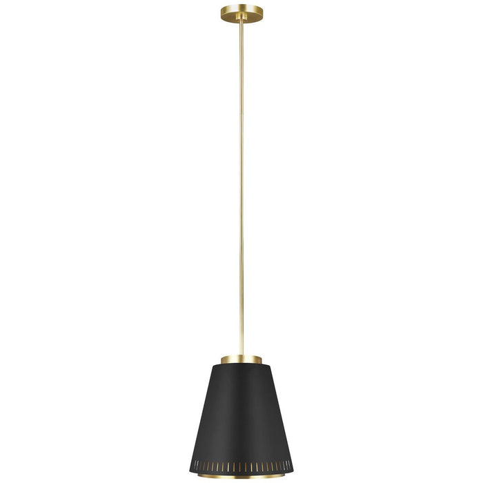 Feiss Carter Wide 1-Light Pendant - Midnight Black, Burnished Brass