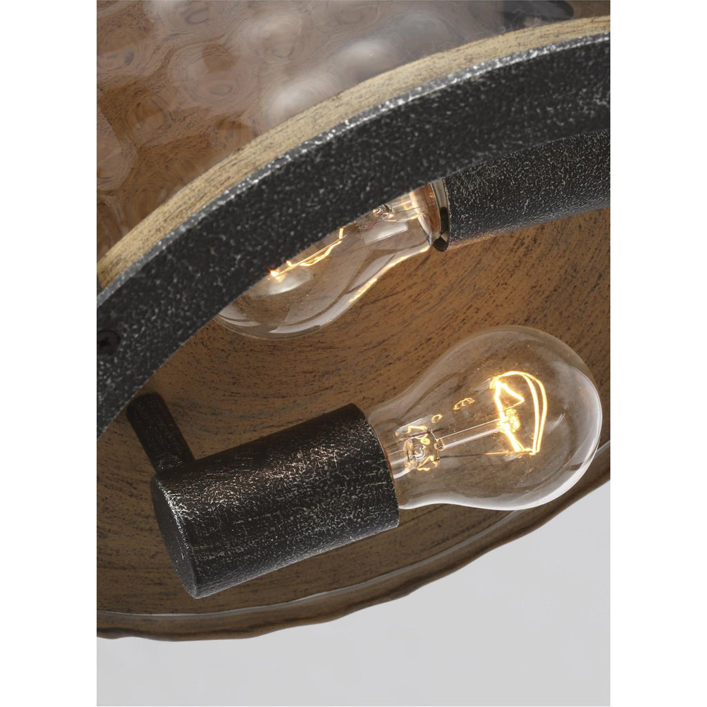 Feiss Angelo 2-Light Angelo Flushmount - Distressed Weathered Oak