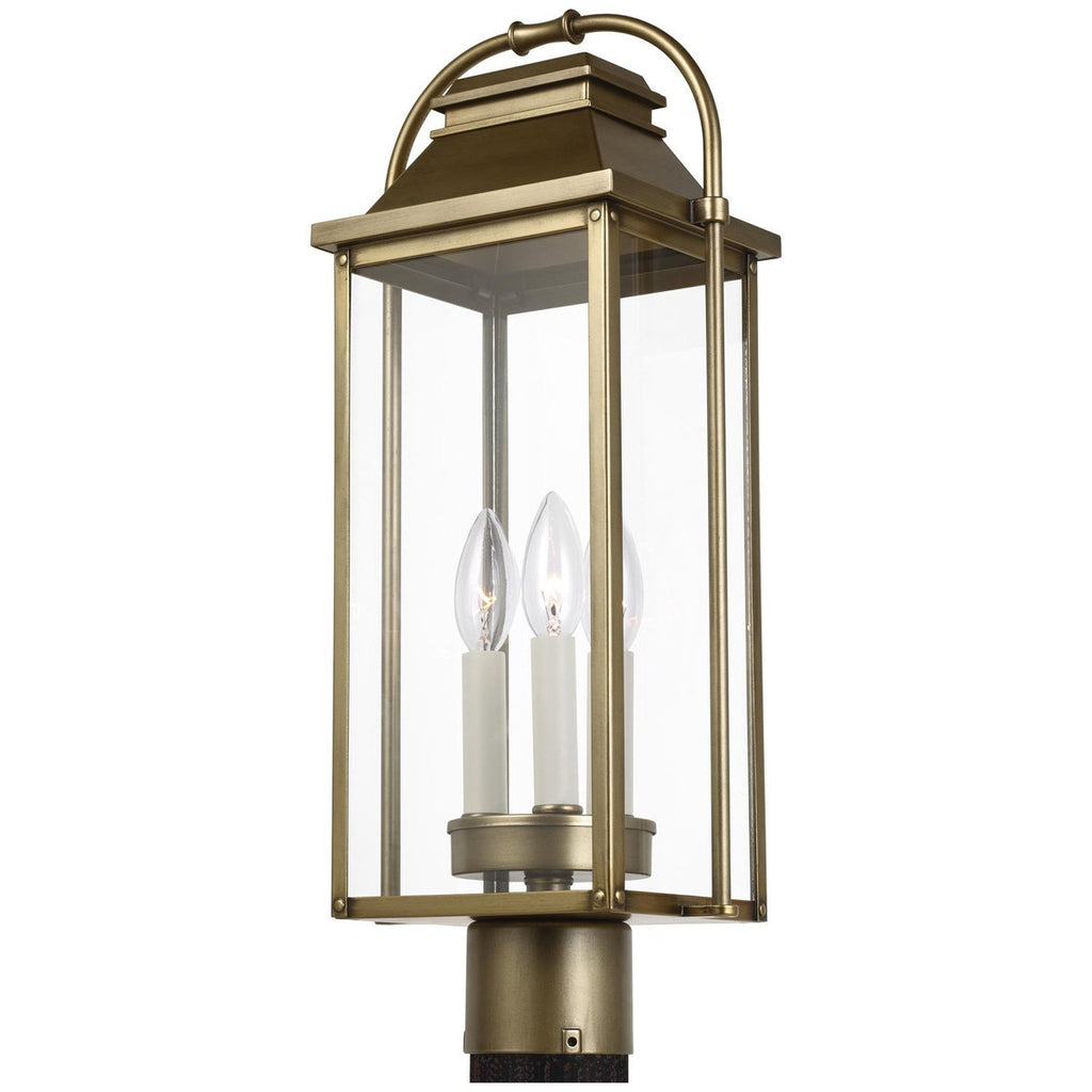 Feiss Wellsworth 3-Light Post Lantern - Painted Distressed Brass