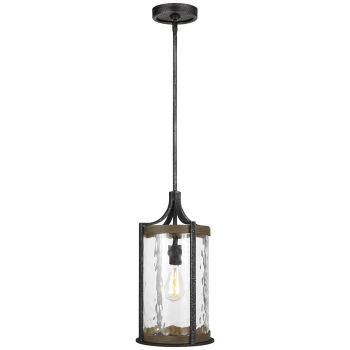 Feiss Angelo 1-Light 75W Pendant - Distressed Weathered Oak