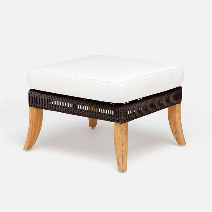 Made Goods Aurora Dramatic Outdoor Raffia Ottoman in Weser Fabric