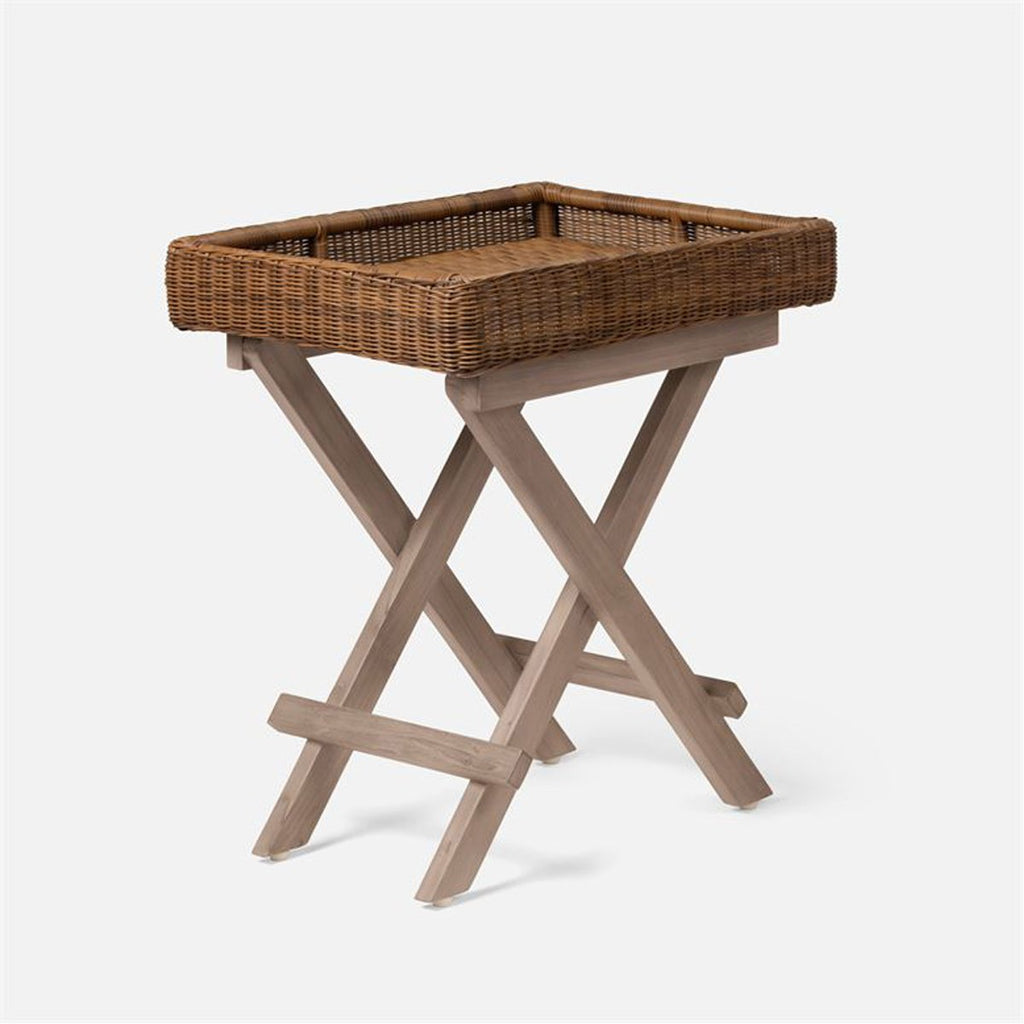 Made Goods Avani Faux Wicker and Teak Outdoor Bar Cart/Side Table