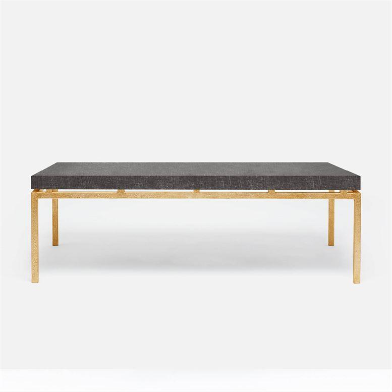 Made Goods Benjamin Large Charcoal Faux Linen Coffee Table