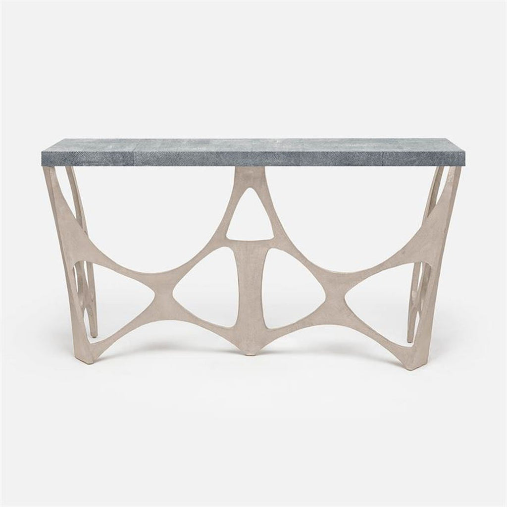 Made Goods Calloway Modernist Faux Shagreen Top Console Table