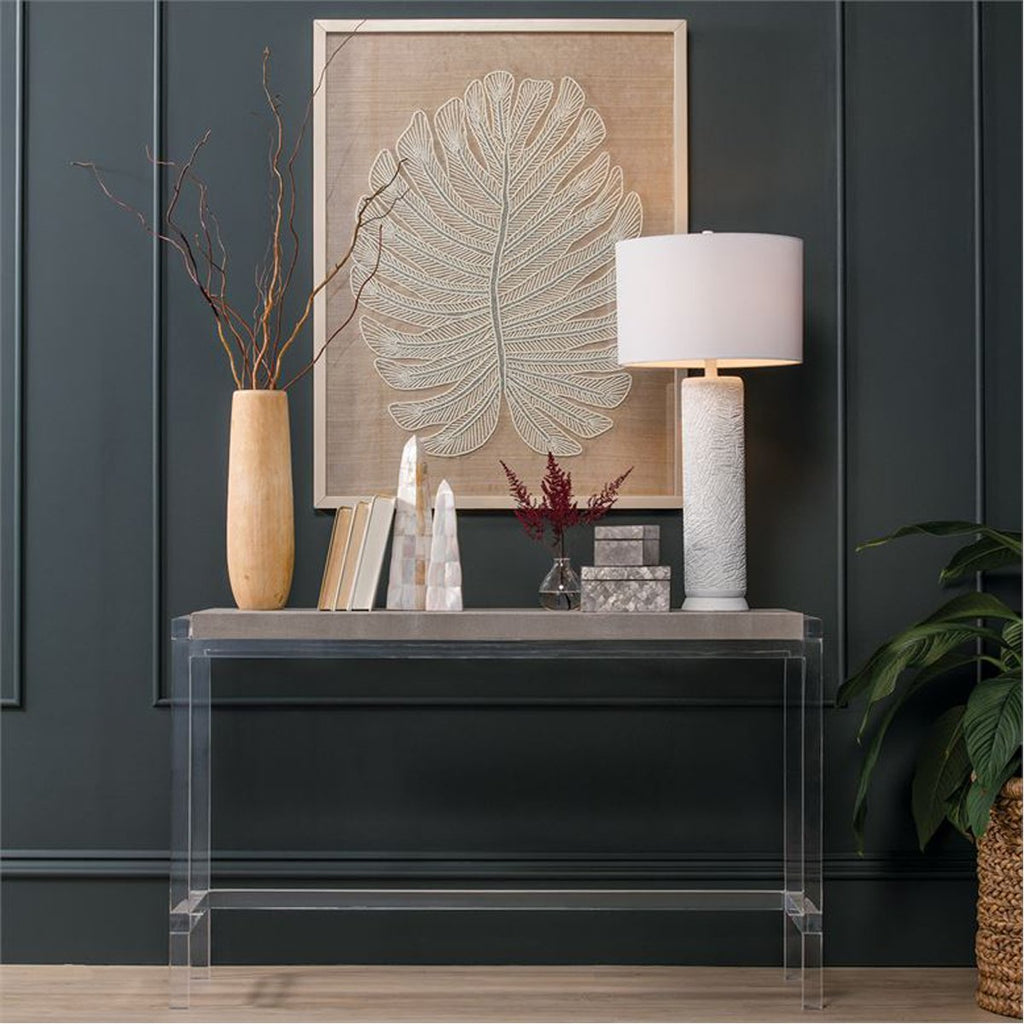 Made Goods Cassian Acrylic Console Table with Silver Mop Shell Top