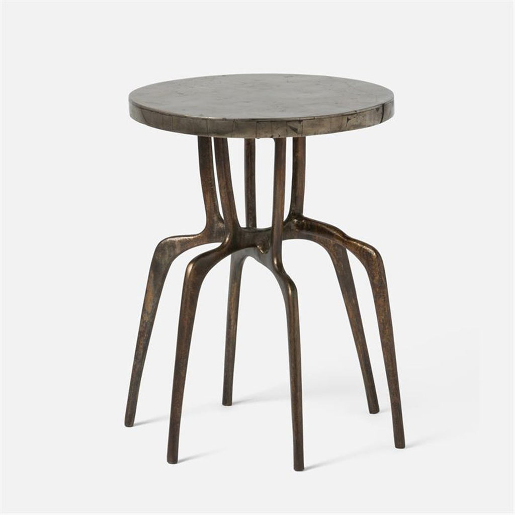 Made Goods Cyrano Metal Accent Table in Pyrite