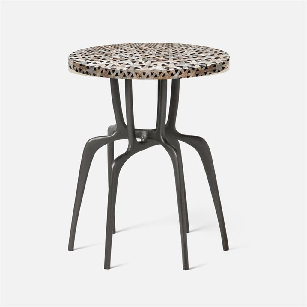 Made Goods Cyrano Metal Accent Table in Gray Shell