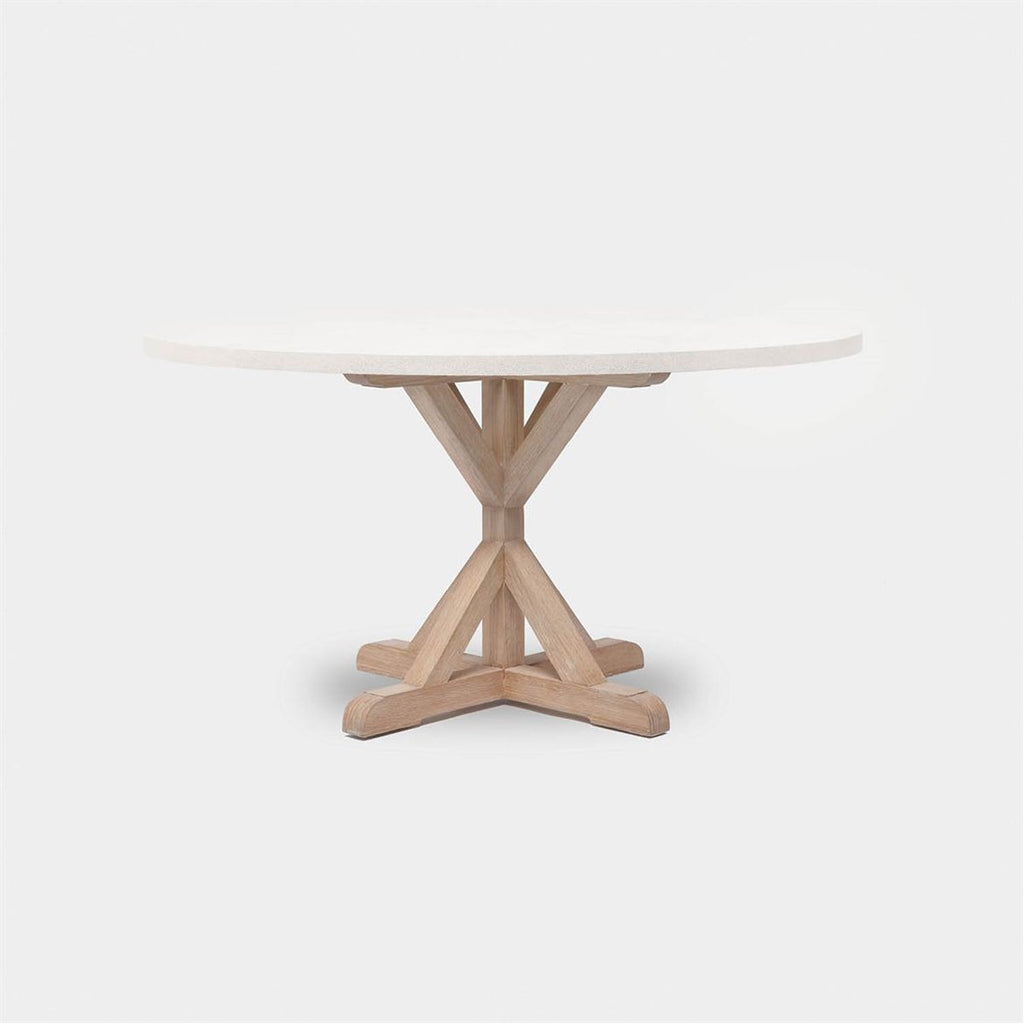 Made Goods Dane Round Farm Dining Table in Faux Shagreen