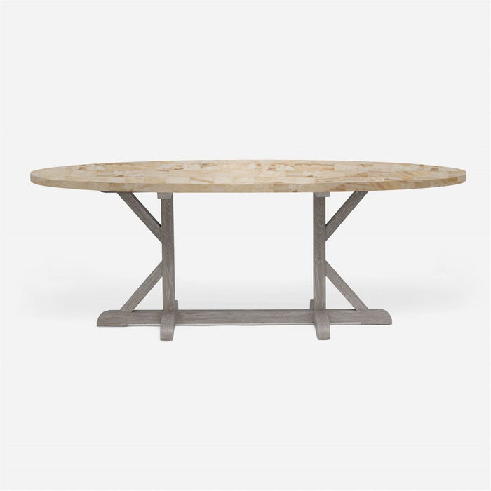 Made Goods Dane Oval Farm Dining Table in Stone