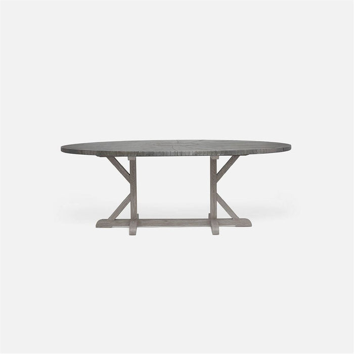 Made Goods Dane Oval Farm Dining Table in Zinc Metal