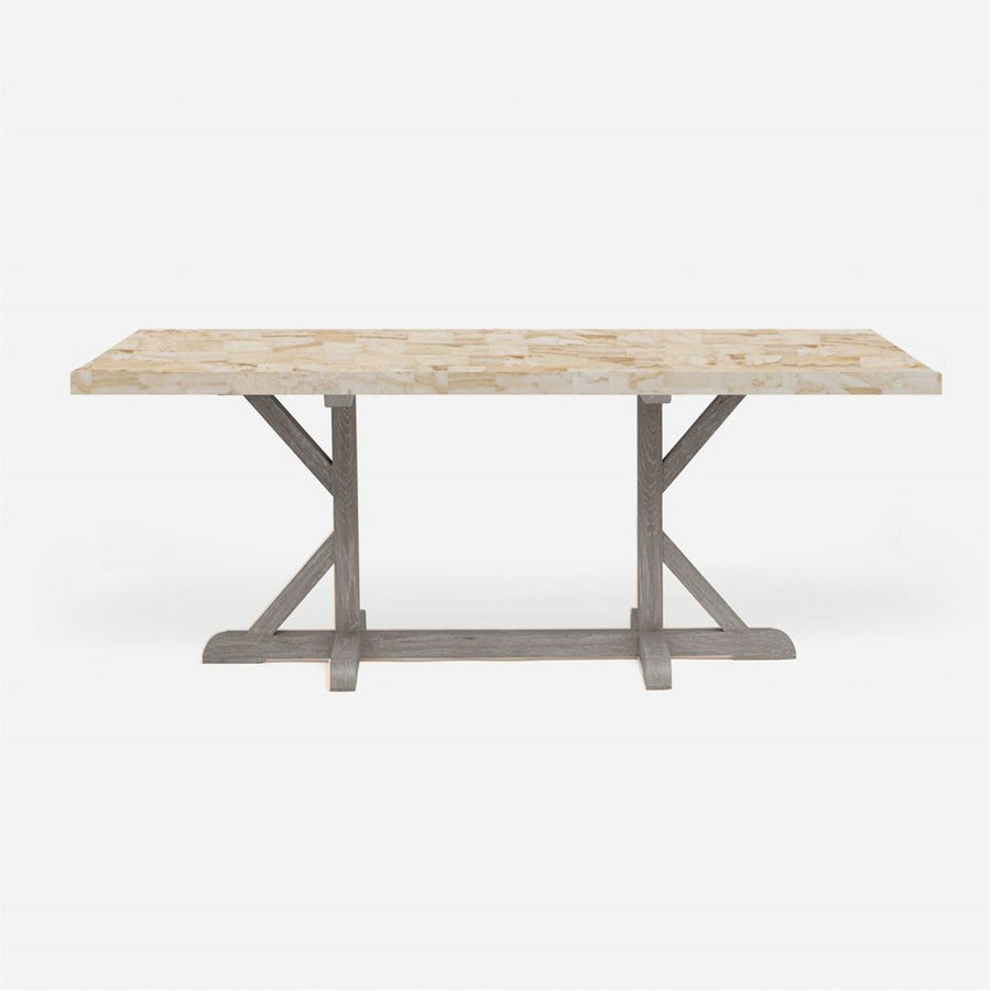 Made Goods Dane Rectangular Farm Dining Table in Stone