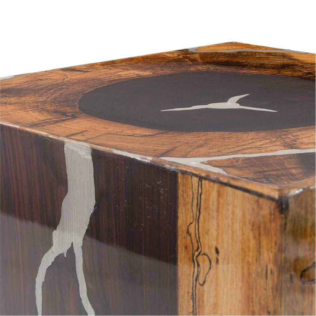 Made Goods Declan Wooden Stool with Metal Inlay
