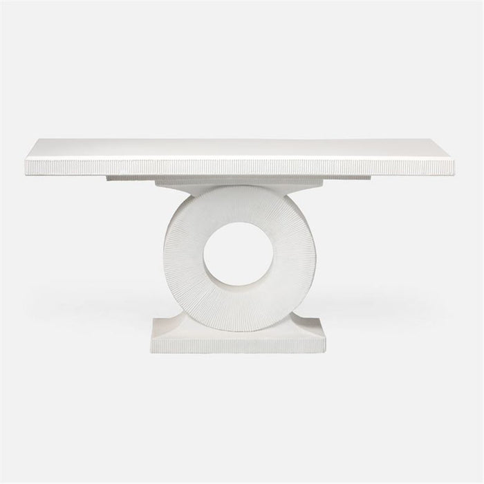 Made Goods Grier Concrete Outdoor Console Table in White Plaster