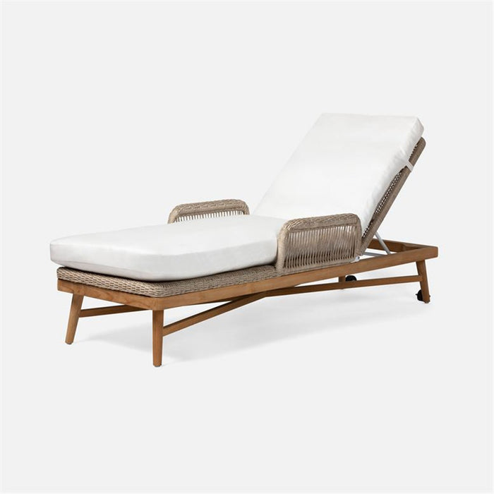 Made Goods Hendrick Easeful Garonne Marine Leather Chaise Lounge