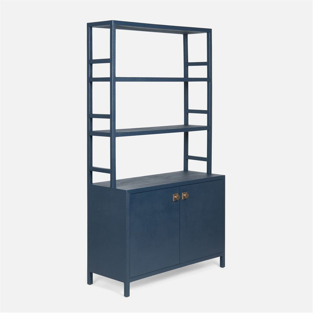 Made Goods Jake Faux Belgian Linen Bookcase with Hutch
