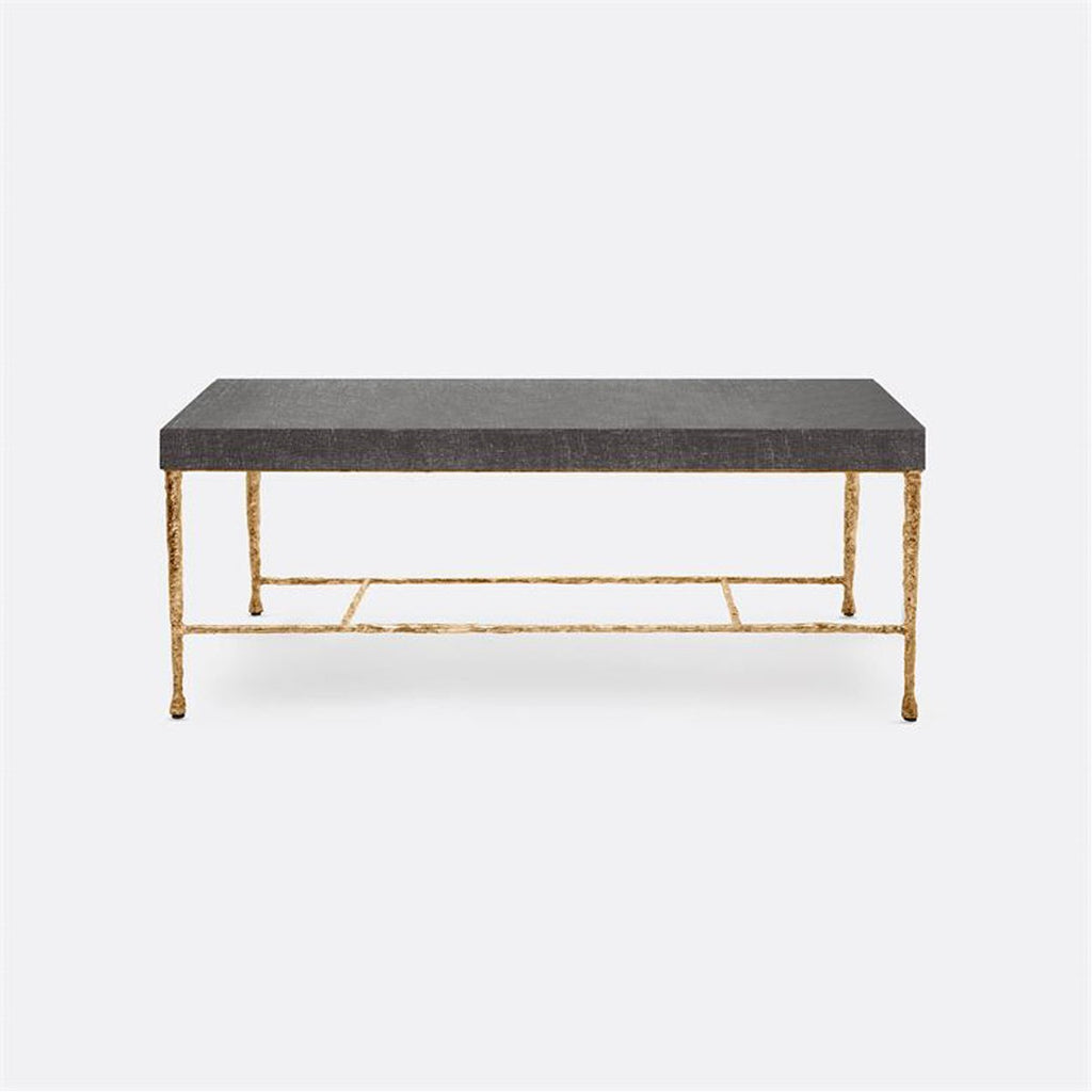 Made Goods Jovan Charcoal Faux Linen Coffee Table