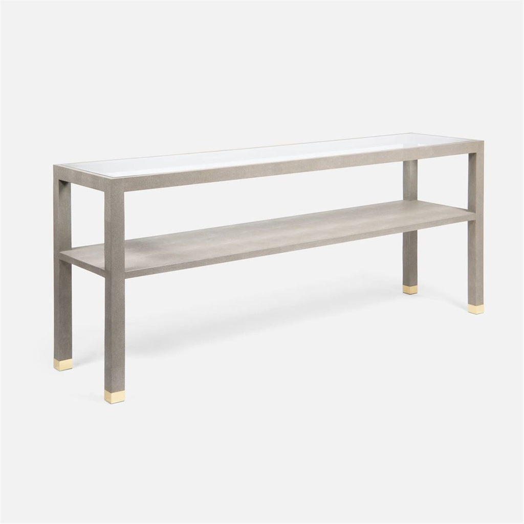 Made Goods Lafeu Glass Top Realistic Faux Shagreen Console Table