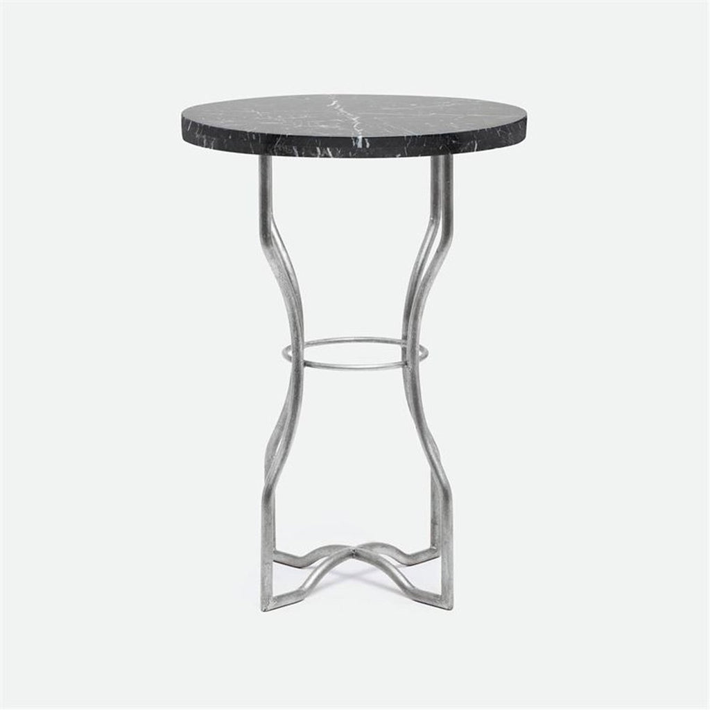 Made Goods Osten Classic Metal Side Table in Marble