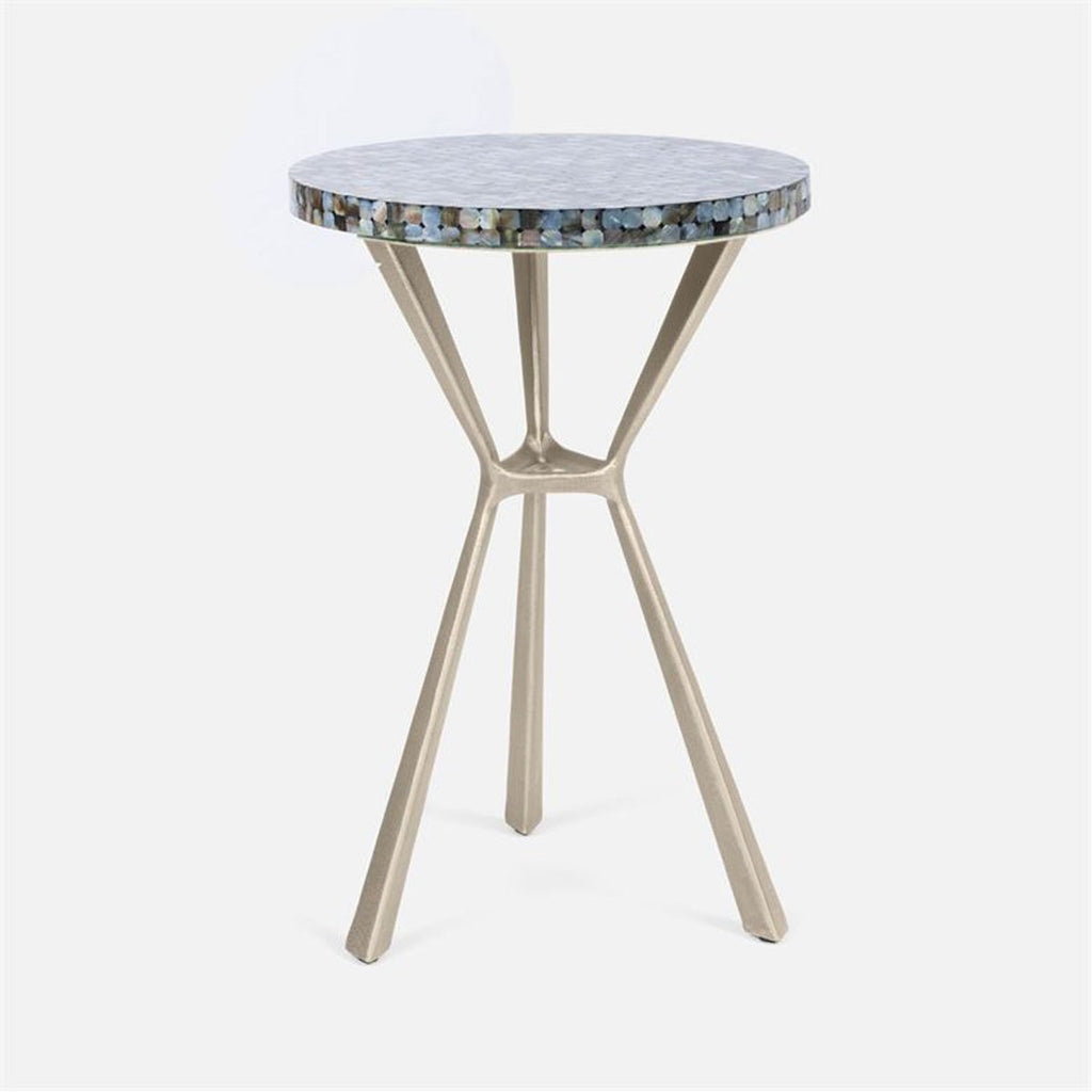 Made Goods Paislee Iron Tripod Table in Resin and Shell