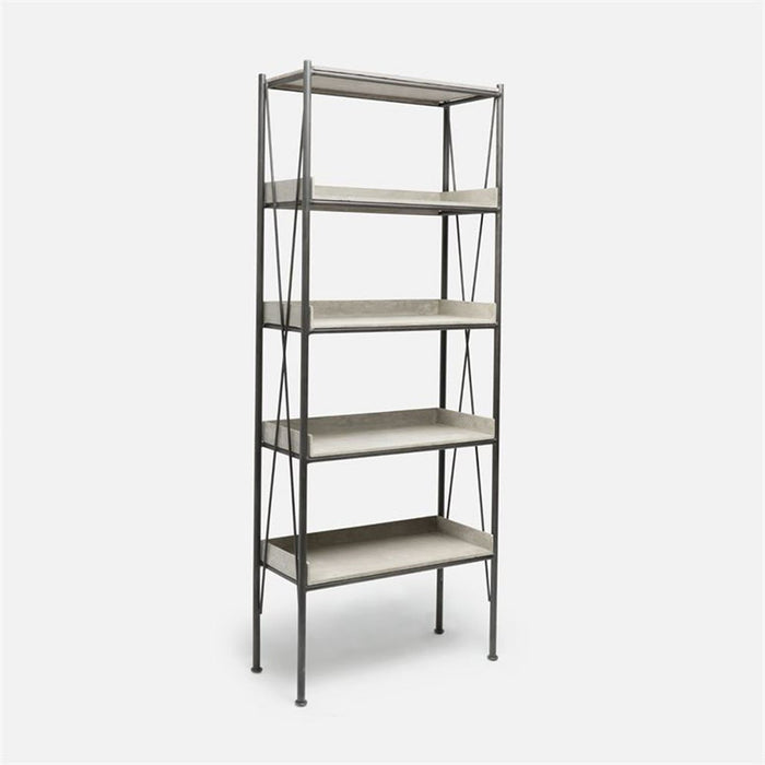 Made Goods Wesley Metal Bookshelf with Concrete Shelving